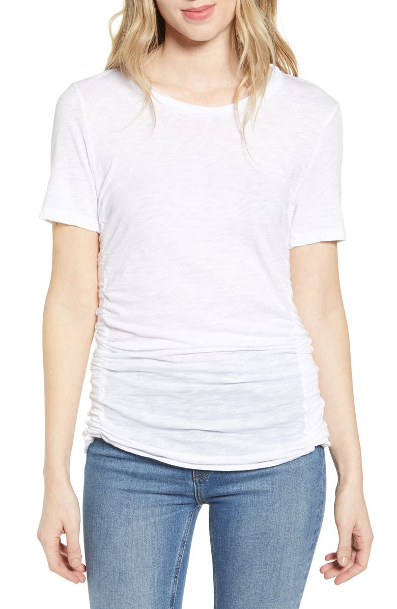 STATESIDE Side Ruched Cotton Slub Tee, Main, color, WHITE