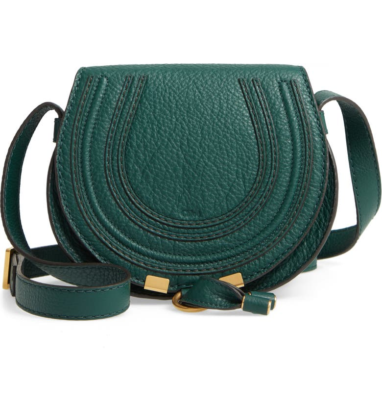 CHLOÉ 'Mini Marcie' Leather Crossbody Bag, Main, color, RAIN FOREST
