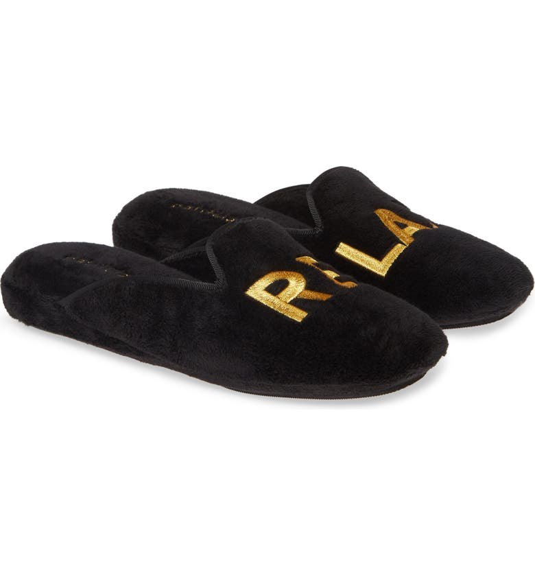 PATRICIA GREEN Relax Embroidered Mule Slipper, Main, color, BLACK FABRIC