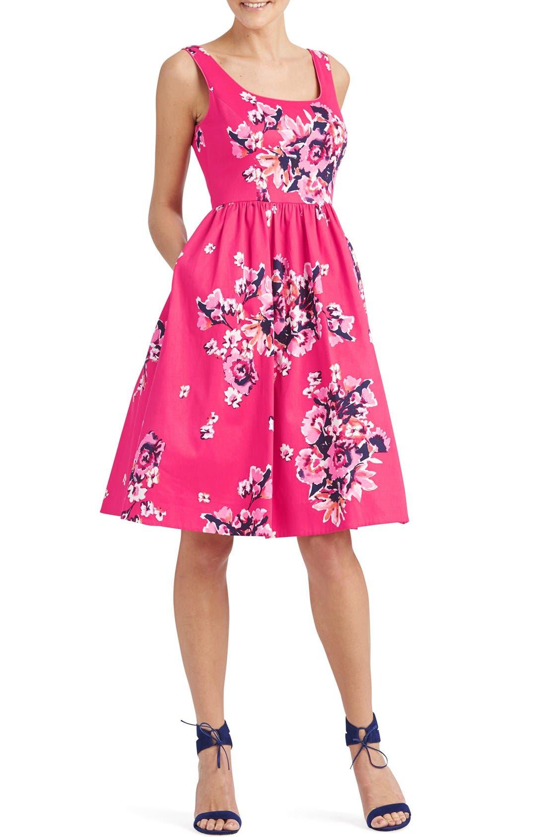 ,                             Print Cotton Blend Midi Dress,                             Alternate thumbnail 6, color,                             692