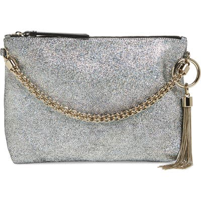Jimmy Choo Callie Holographic Leather Clutch - Blue