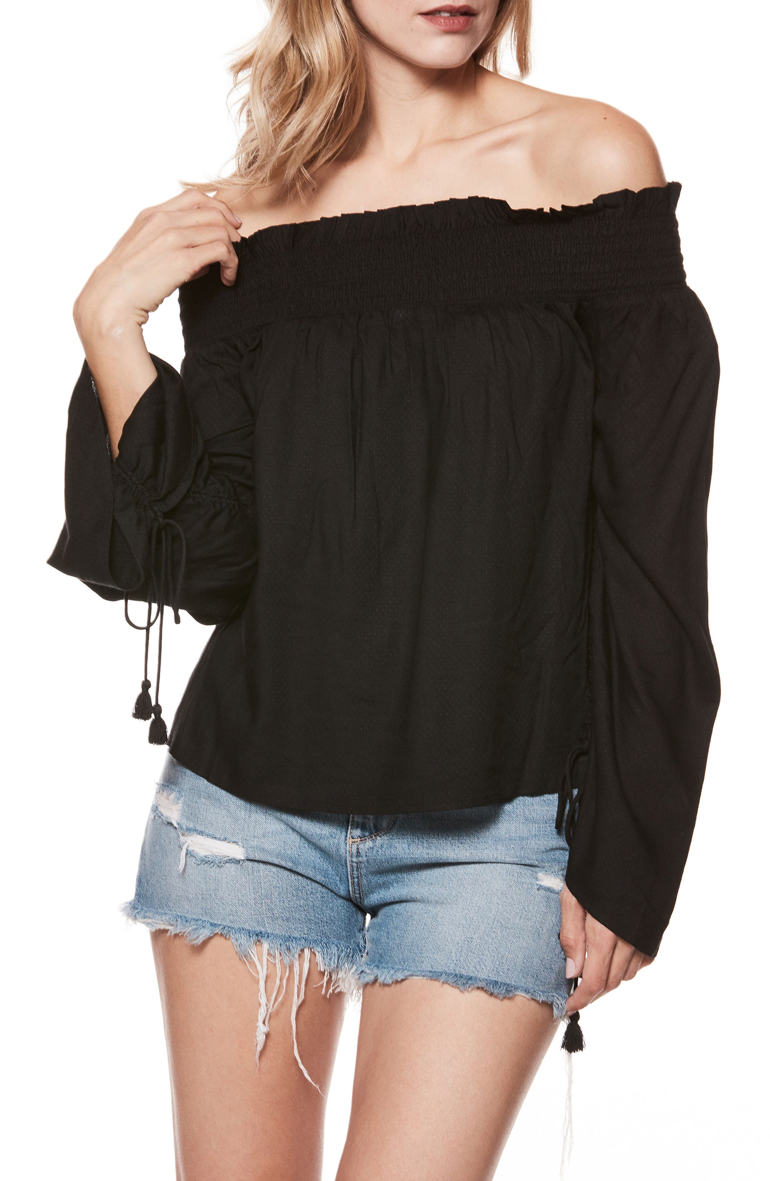 Image of PAIGE Cherita Smocked Off-the-Shoulder Long Sleeve Blouse