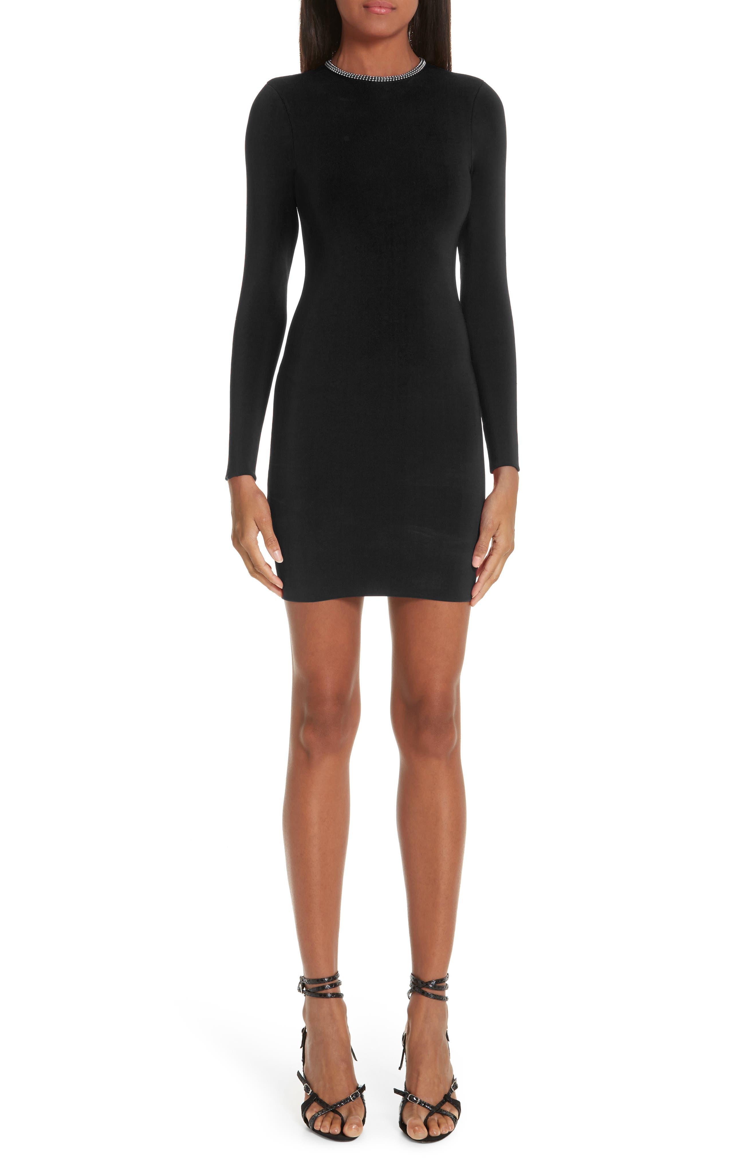 Alexander Wang Ball Chain Trim Body-Con Dress, Black