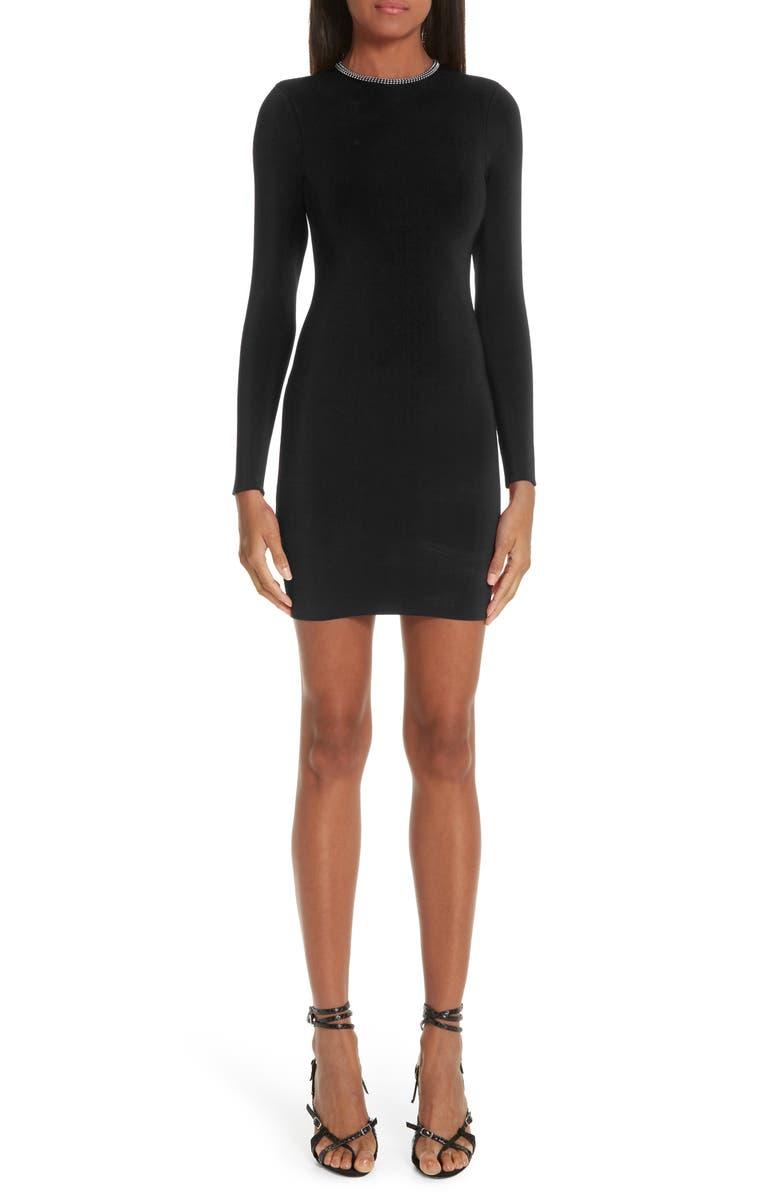 ALEXANDER WANG Ball Chain Trim Body-Con Dress, Main, color, 001