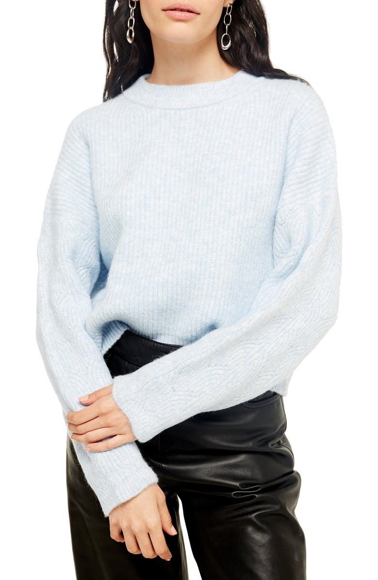 TOPSHOP Cable Knit Sleeve Sweater, Main, color, LIGHT BLUE