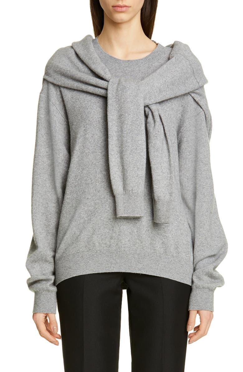 ALEXANDER WANG Tie Shoulder Wool & Cashmere Blend Sweater, Main, color, HEATHER GREY