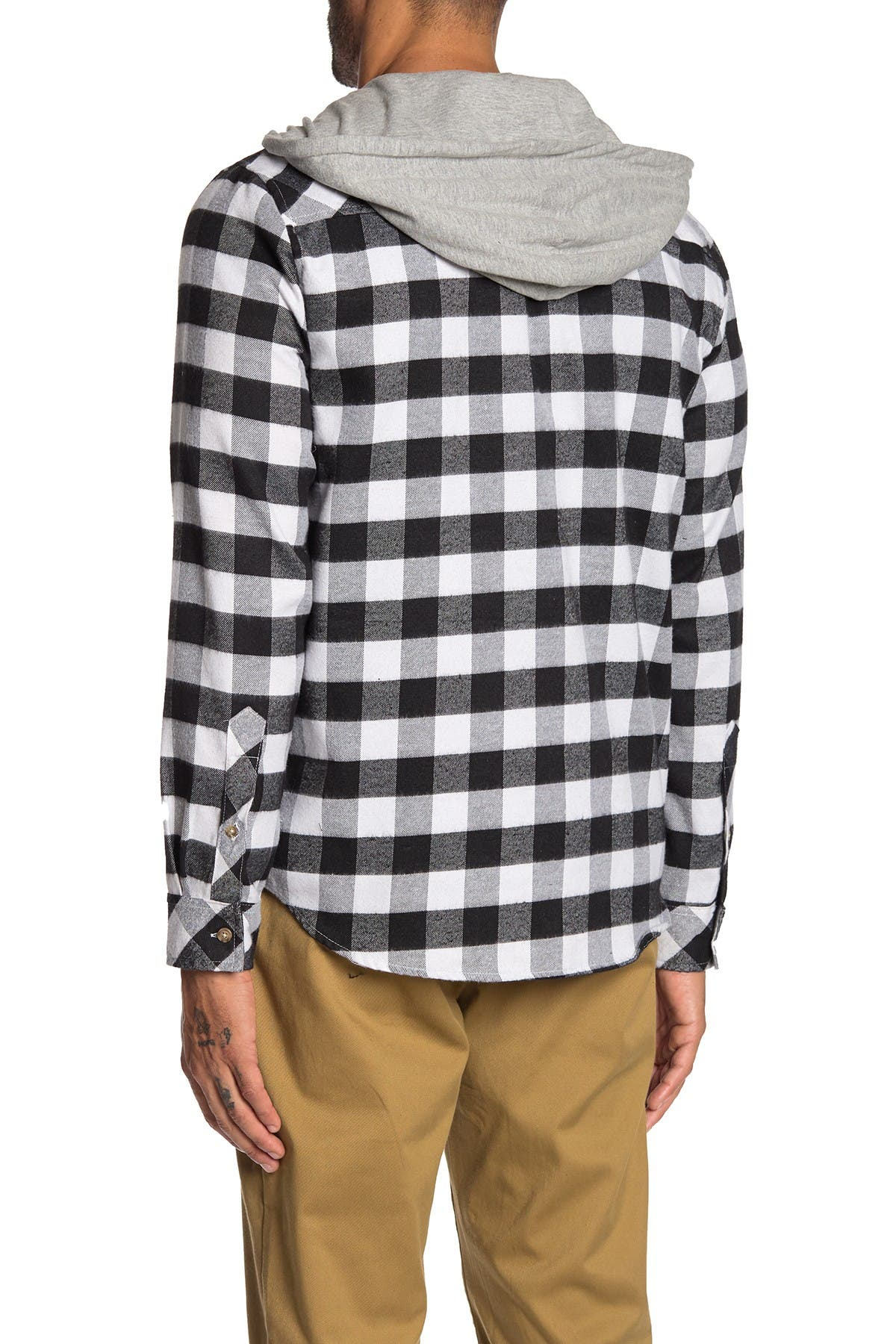 Image of Straight Faded Hooded Plaid Knit Flannel Jacket