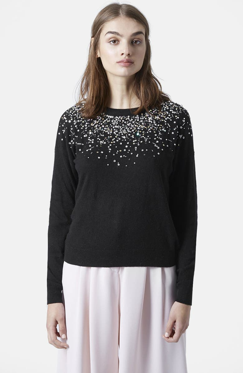 TOPSHOP Embellished Crewneck Sweater, Main, color, 001