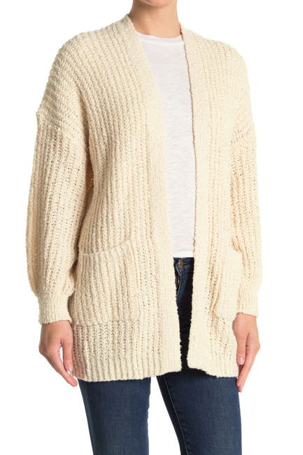 Image of Lush Textured Rib Knit Open Front Longline Cardigan