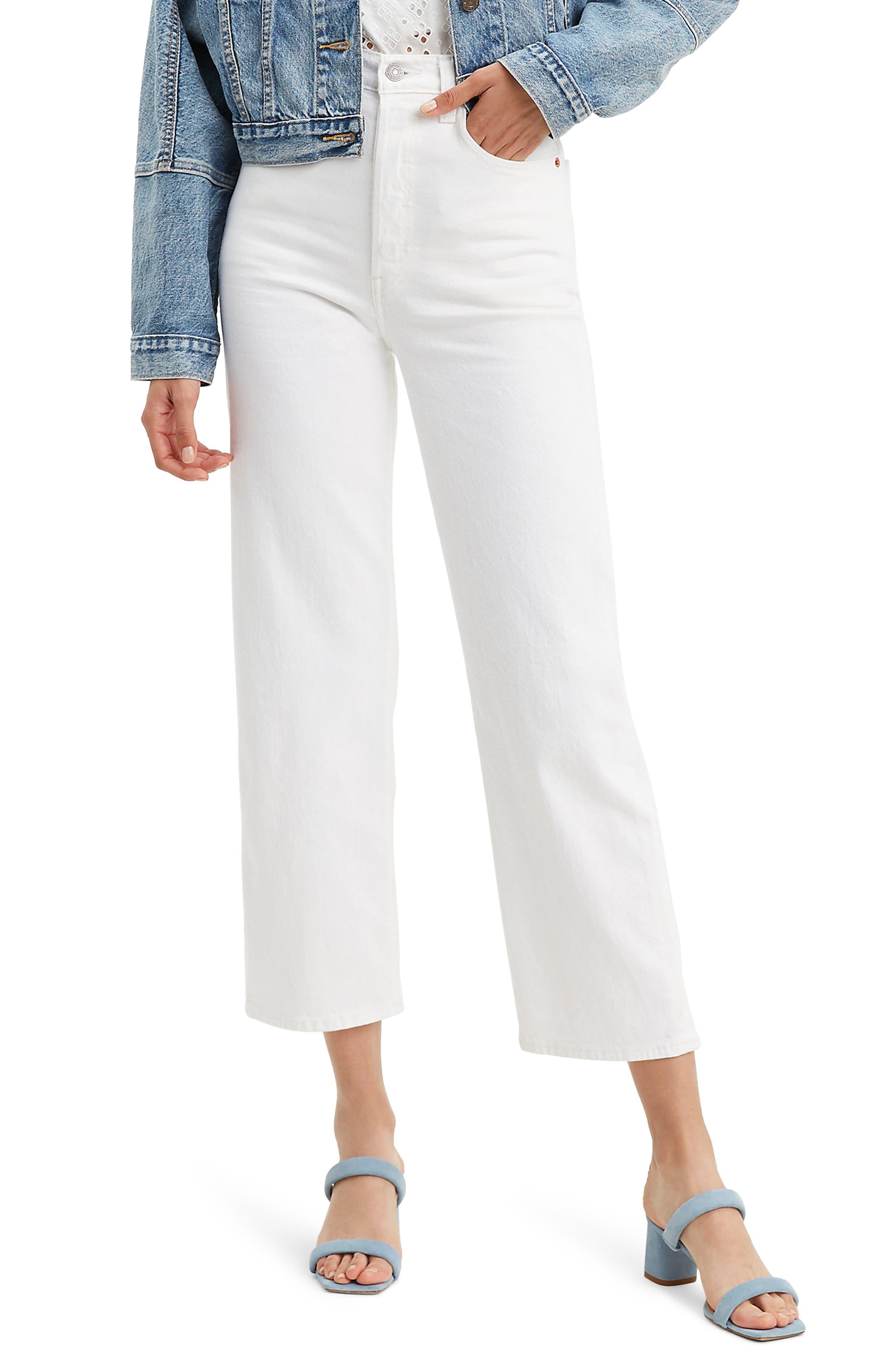 Women's Levi's Ribcage High Waist Ankle Straight Leg Jeans,  32 x 27 - White