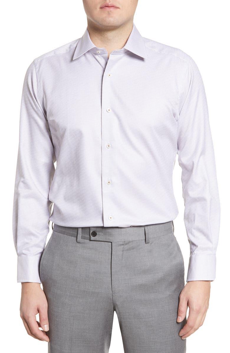DAVID DONAHUE Trim Fit Tattersall Plaid Dress Shirt, Main, color, 204
