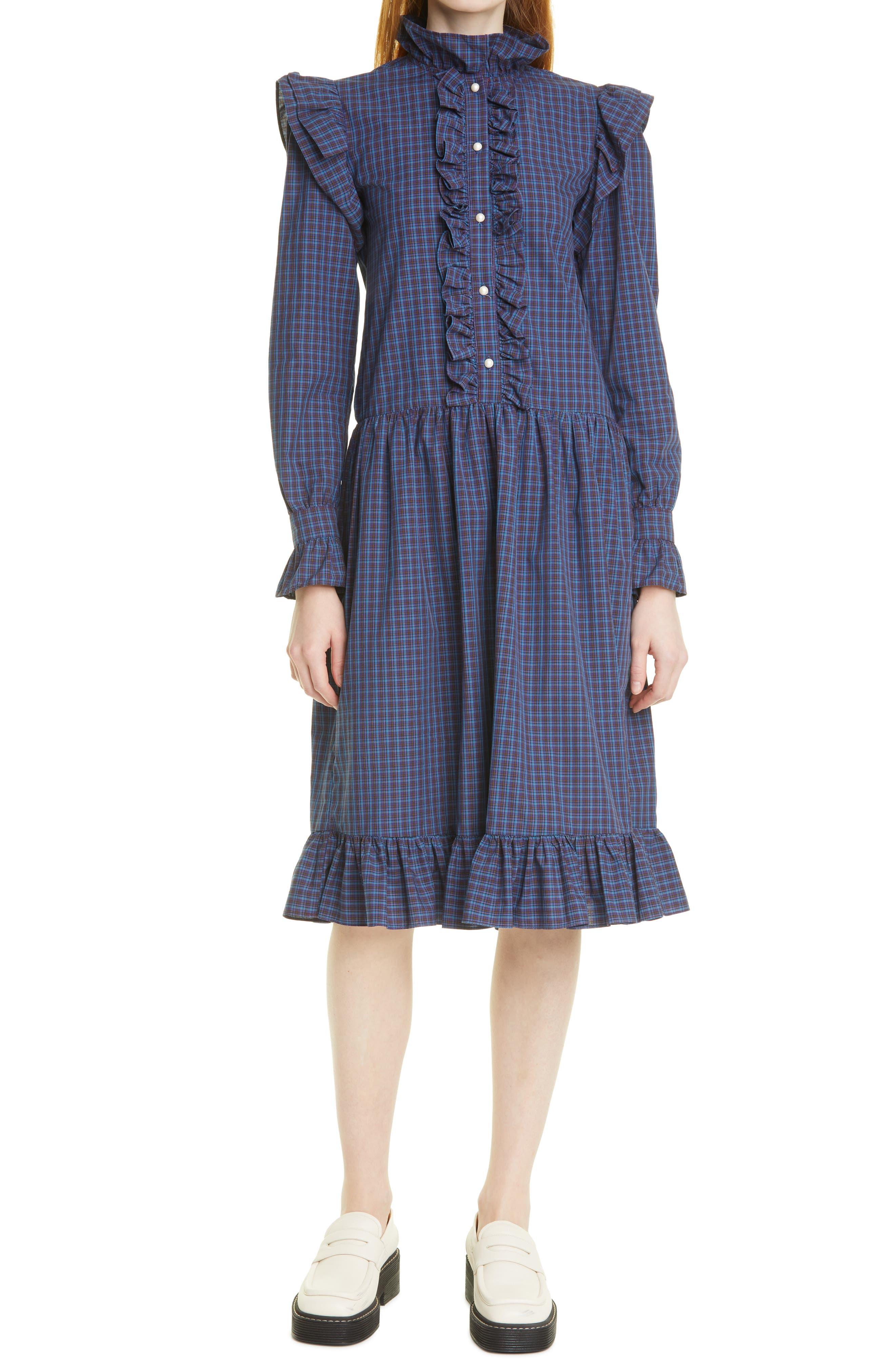 Claude Long Sleeve Plaid Cotton Dress