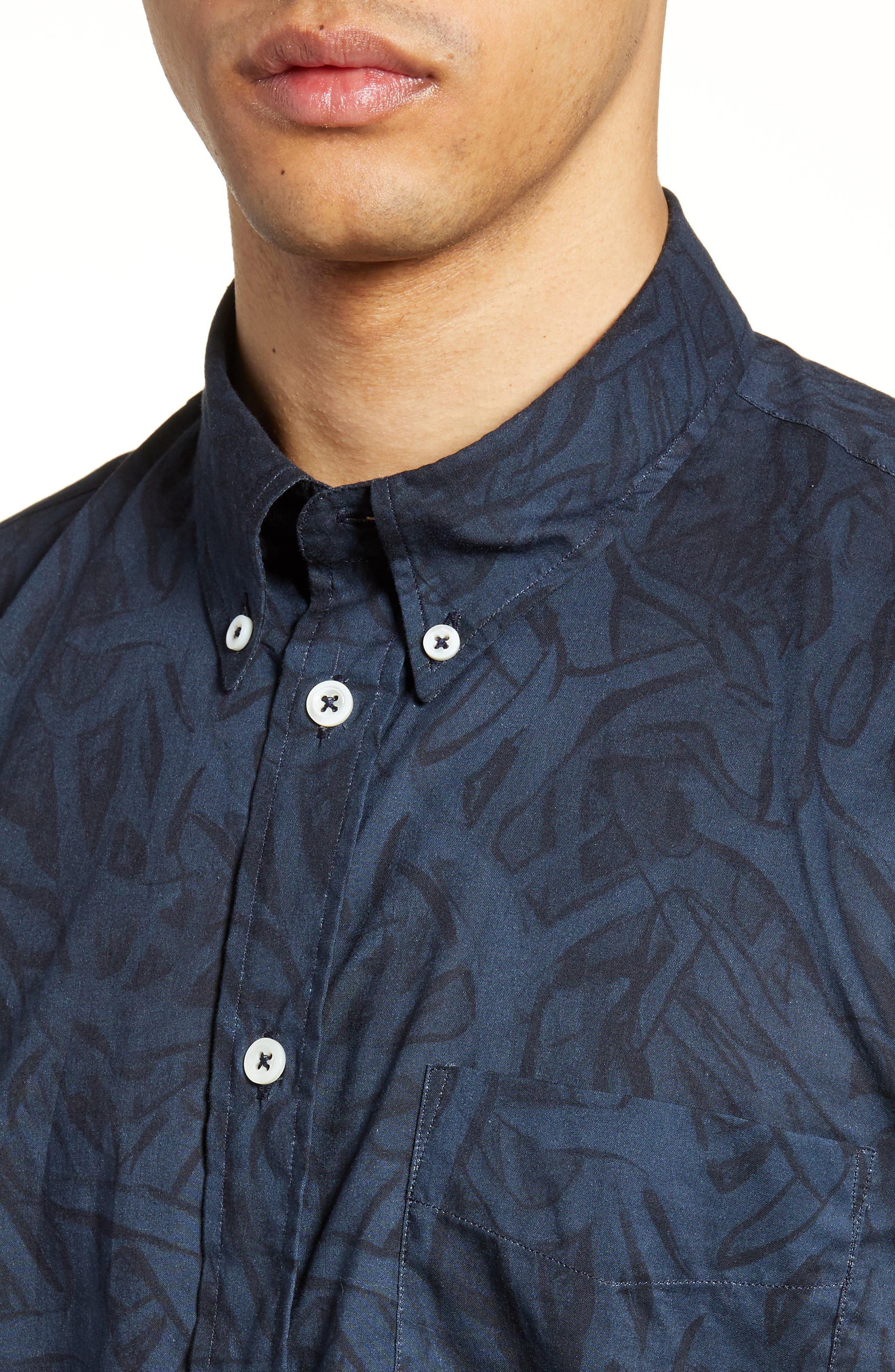 ,                             Kirby Antlers Slim Fit Woven Shirt,                             Alternate thumbnail 2, color,                             BLUE/ NAVY
