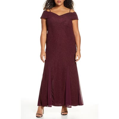 Plus Size Morgan & Co. Glitter Cold Shoulder Gown, Red