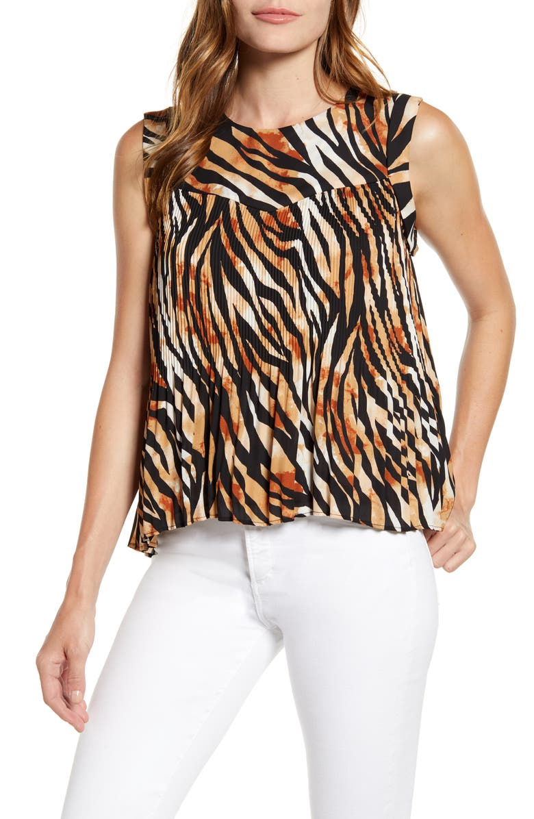 GIBSON x Hot Summer Nights Roselyn Pleated Sleeveless Top, Main, color, ABSTRACT ZEBRA