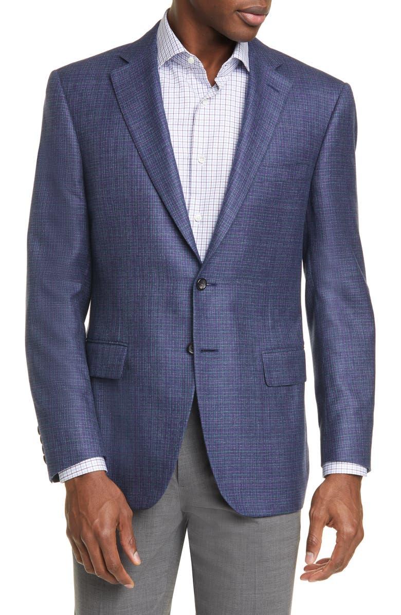 CANALI Classic Fit Check Silk & Cashmere Sport Coat, Main, color, BLUE