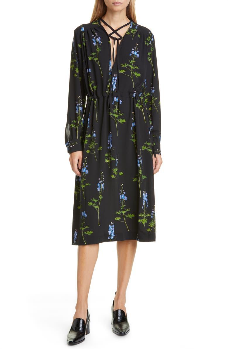DRIES VAN NOTEN Dion Floral Long Sleeve Dress, Main, color, BLACK
