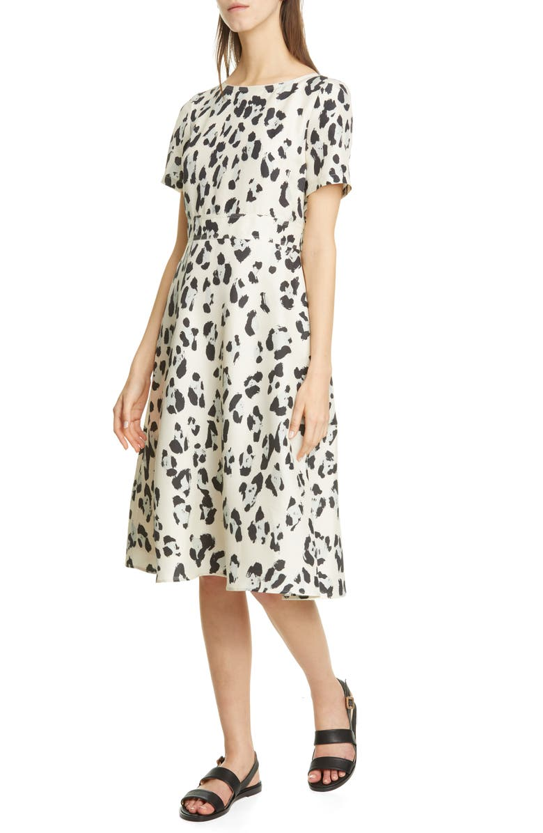 LAFAYETTE 148 NEW YORK Amanda Spot Print Silk Dress, Main, color, PEPPERMINT MULTI