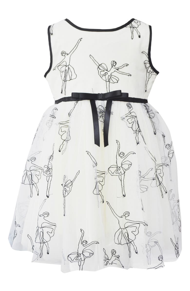 POPATU Embroidered Ballerina Tulle Dress, Main, color, WHITE