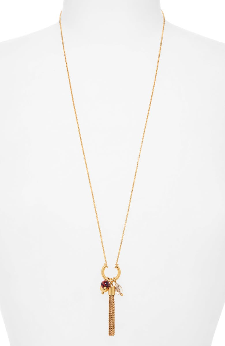 MADEWELL Tassel Bead Cluster Necklace, Main, color, RUST MULTI