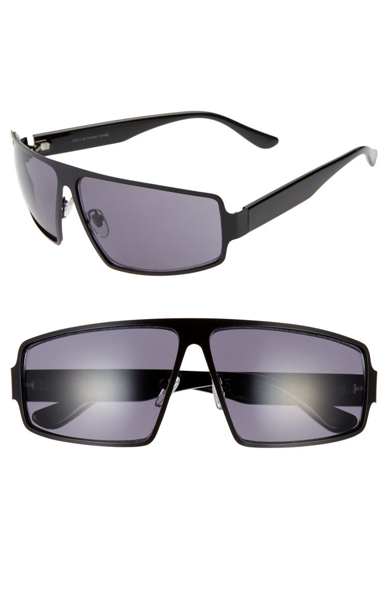 BP. Nano 65mm Shield Sunglasses, Main, color, BLACK/ BLACK