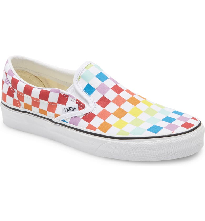 VANS UA Classic Slip-On Sneaker, Main, color, RAINBOW CHECKERBOARD