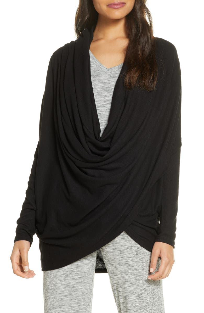 NORDSTROM Hacci Knit Waterfall Cardigan, Main, color, BLACK