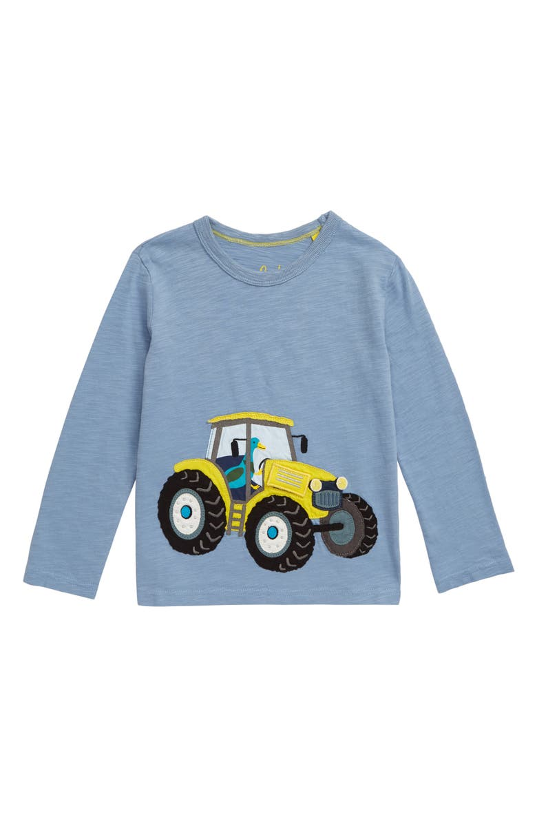 MINI BODEN Tractor Appliqué T-Shirt, Main, color, WREN BLUE