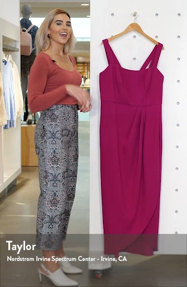 Side Ruched Double Strap Crepe Gown, sales video thumbnail