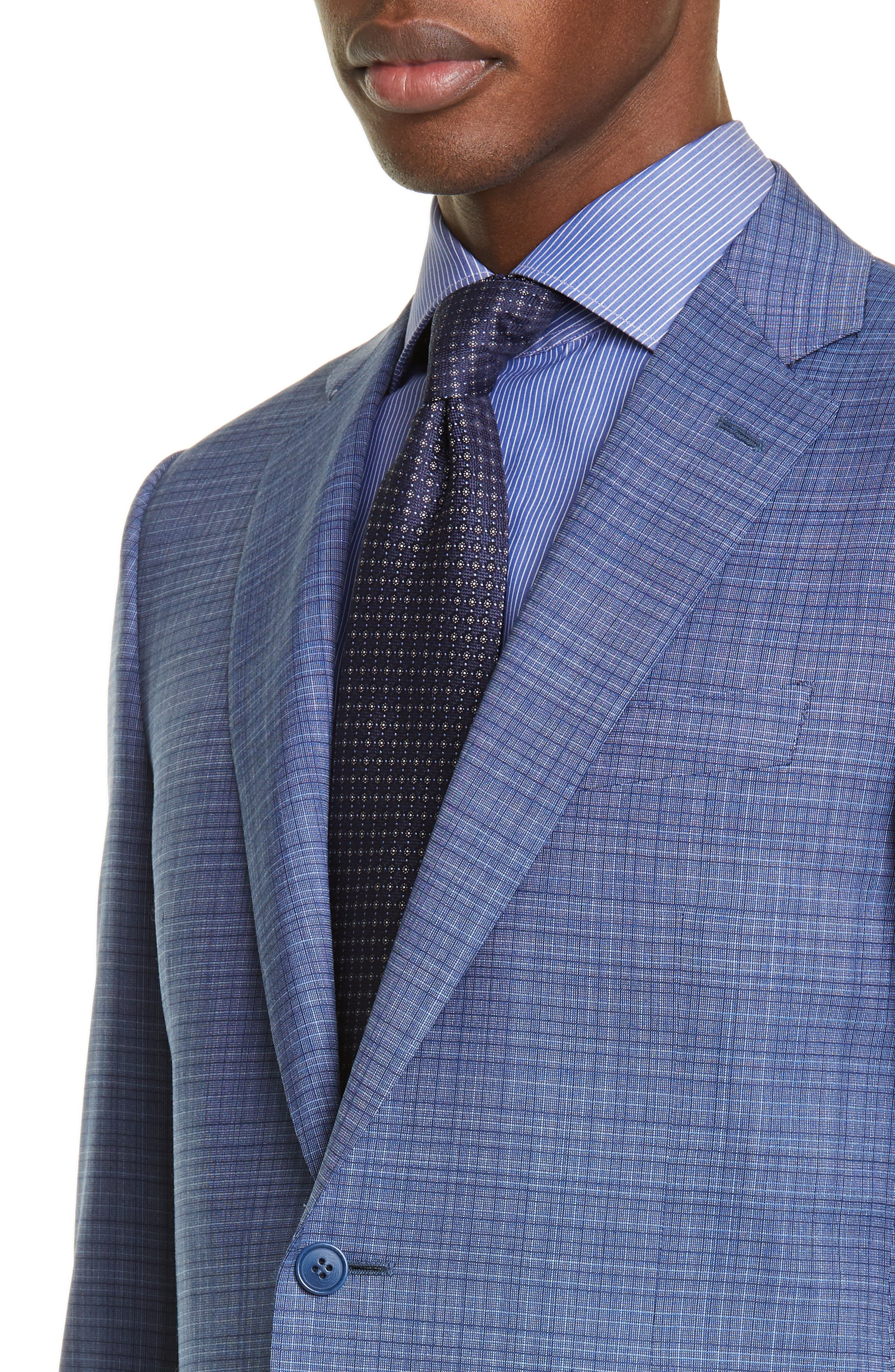 ,                             Milano Classic Fit Check Wool Suit,                             Alternate thumbnail 4, color,                             BLUE
