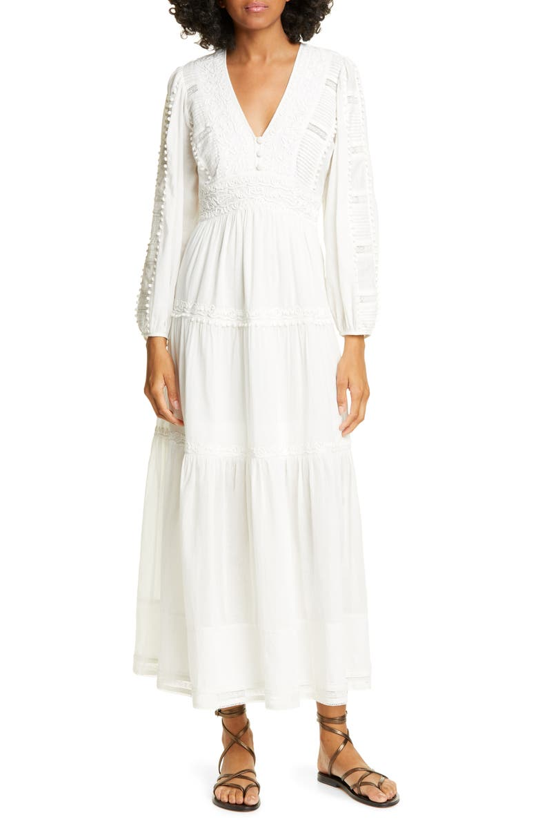 SEA Silva Long Sleeve Cotton Dress, Main, color, WHITE