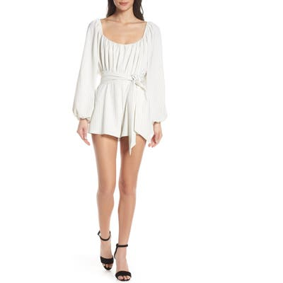 Finders Keepers Flamenco Convertible Neck Romper, Ivory
