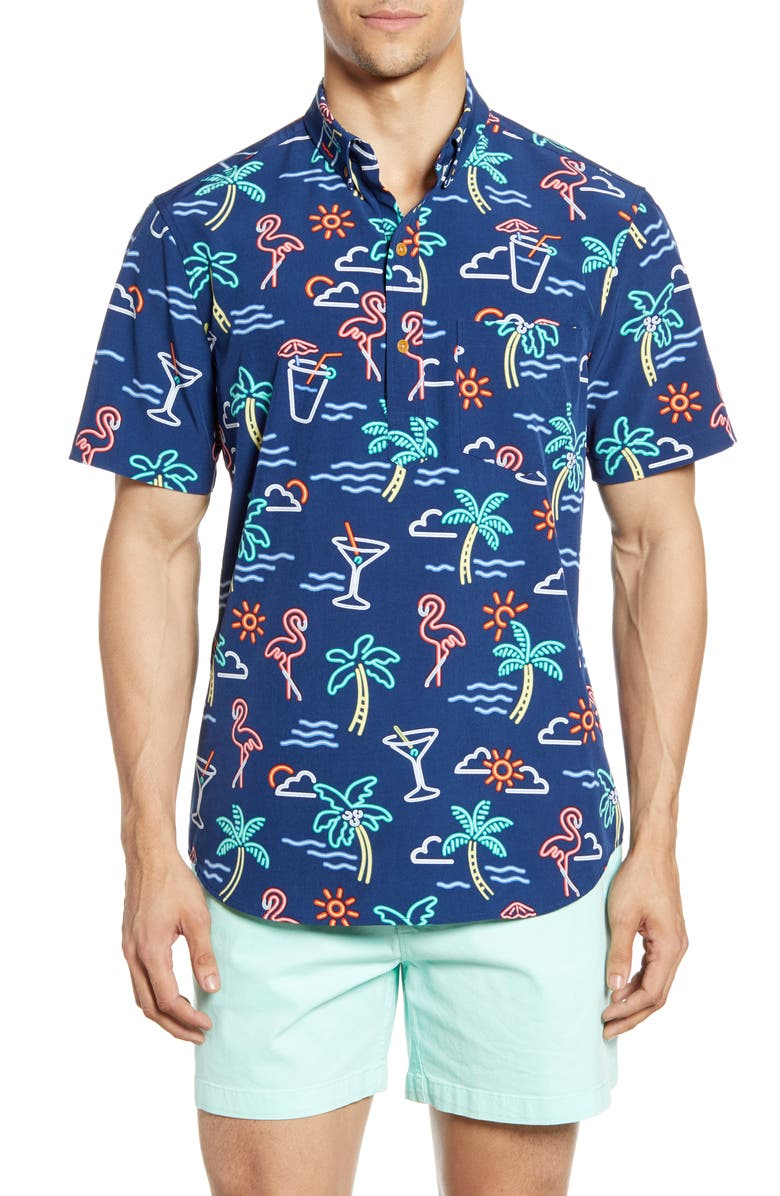 CHUBBIES One Man Wolf Pack Short Sleeve Button-Down Popover Shirt, Main, color, 401