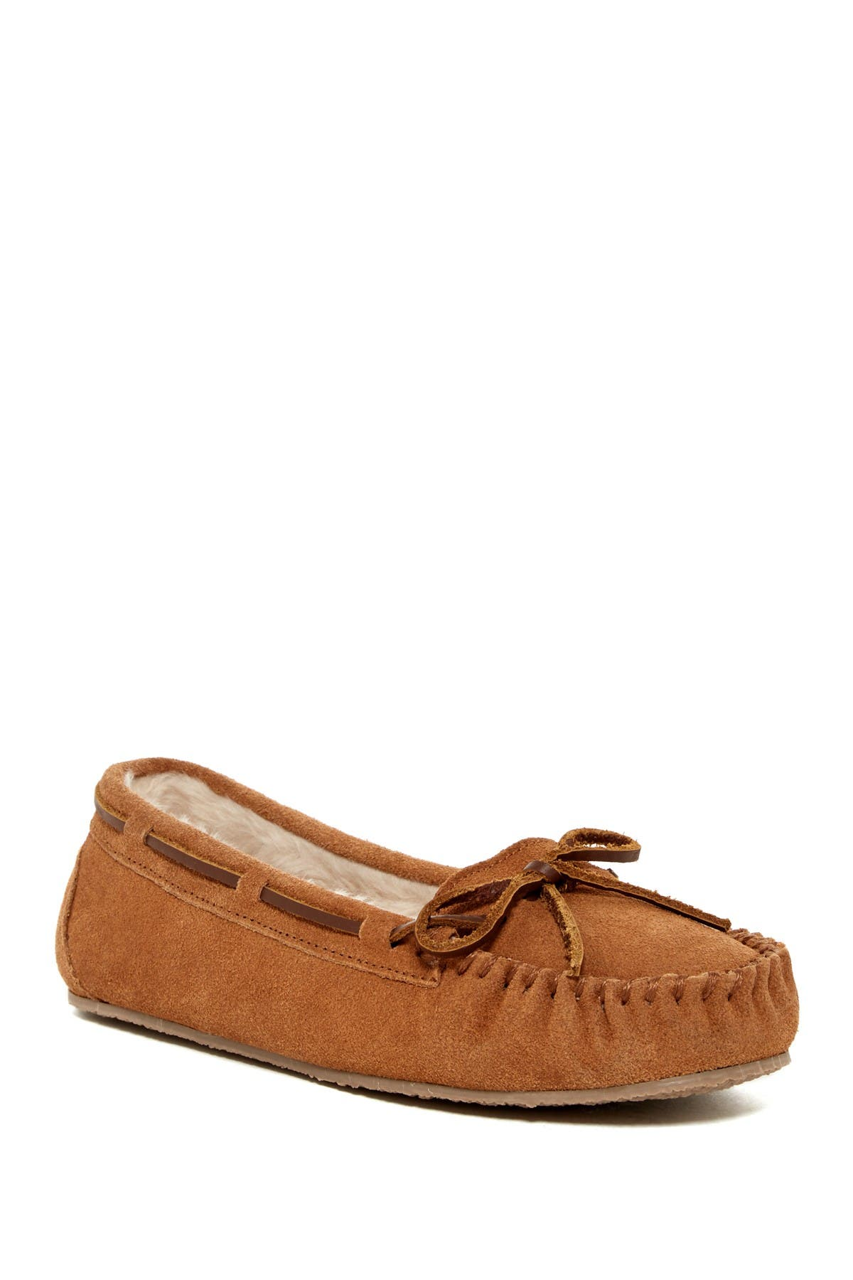 Image of Minnetonka Junior Trapper Faux Fur Lined Moccasin Slipper