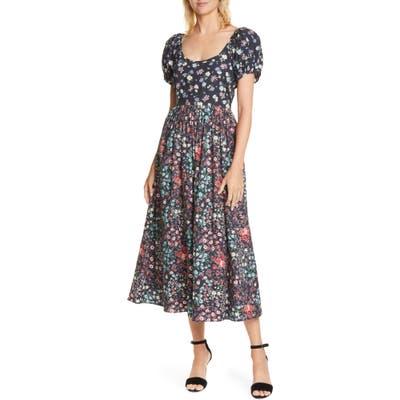 Loveshackfancy Lais Floral Puff Sleeve Cotton A-Line Dress, Black