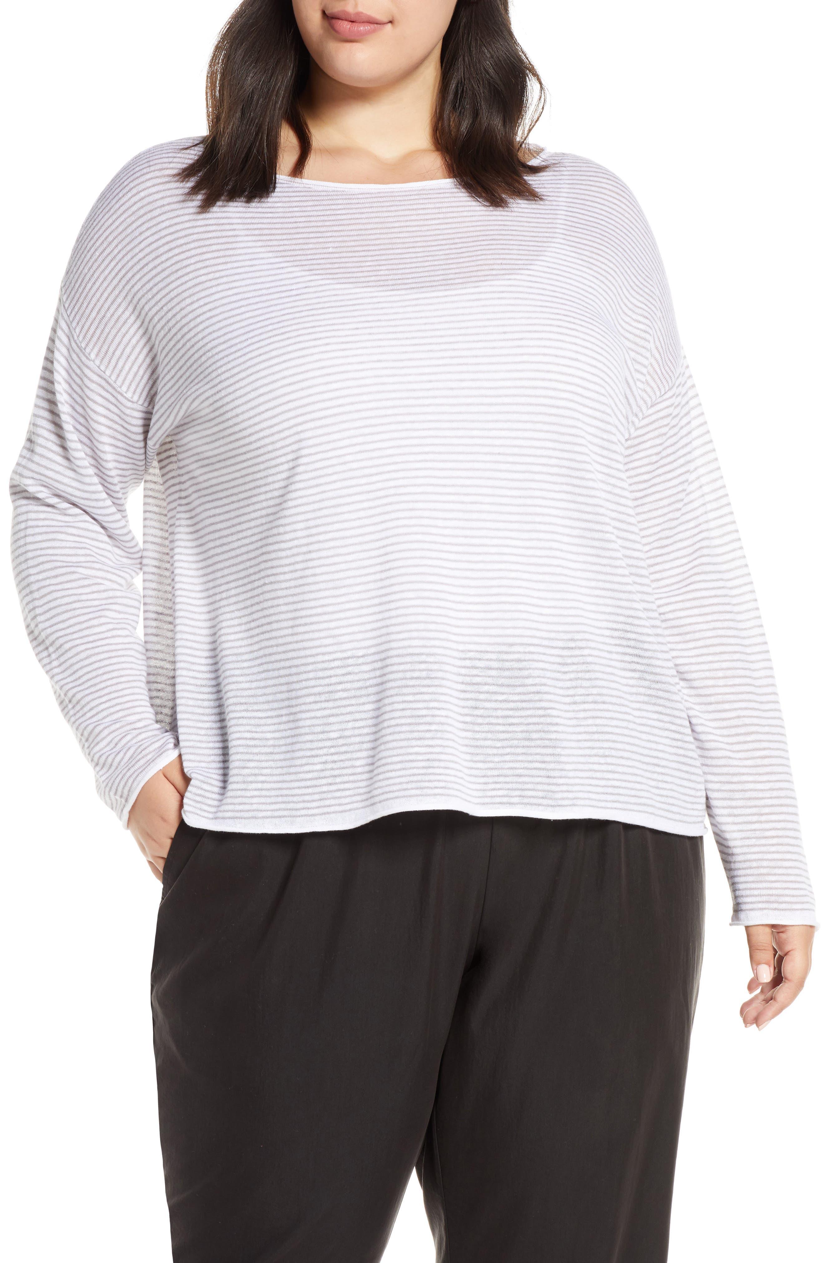 Stripe Linen & Cotton Top, Main, color, DOVE