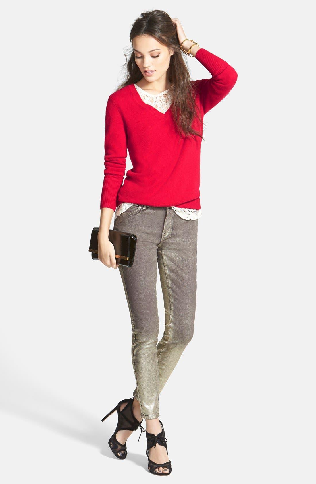 ,                             Cashmere V-Neck Sweater,                             Alternate thumbnail 71, color,                             610