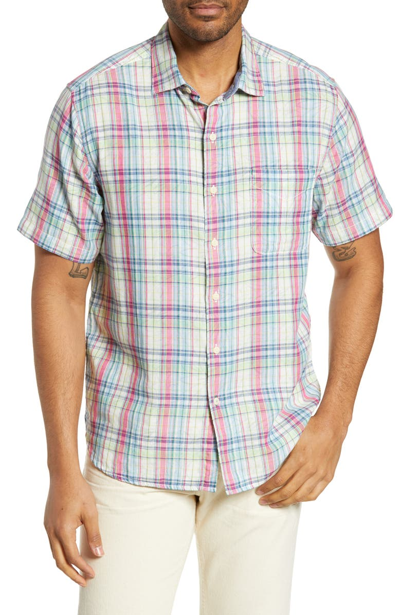 TOMMY BAHAMA Island Etch Classic Fit Plaid Shirt, Main, color, ROSE BED