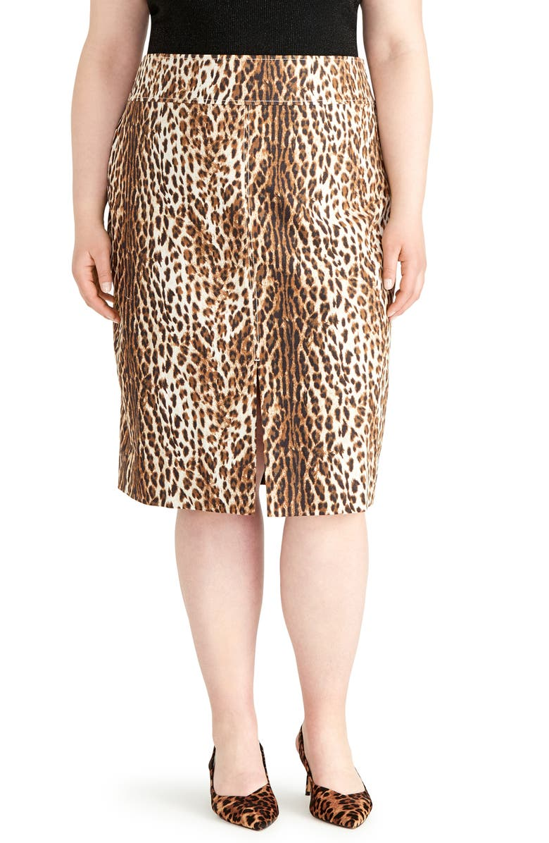 RACHEL ROY COLLECTION Slit Leopard Print Pencil Skirt, Main, color, IVORY COMBO