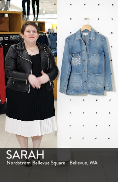 Embroidered Denim Chore Coat, sales video thumbnail