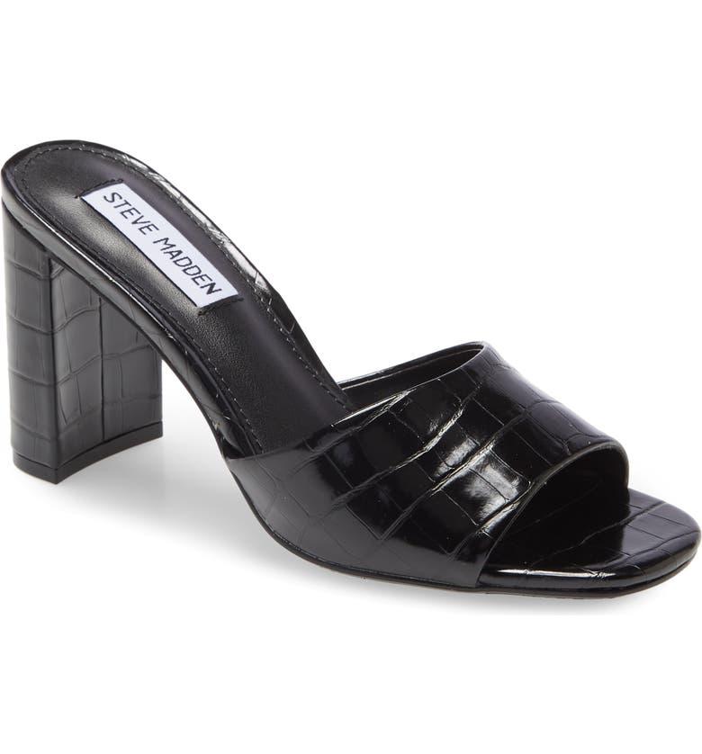 STEVE MADDEN Nile Sandal, Main, color, BLACK CROC