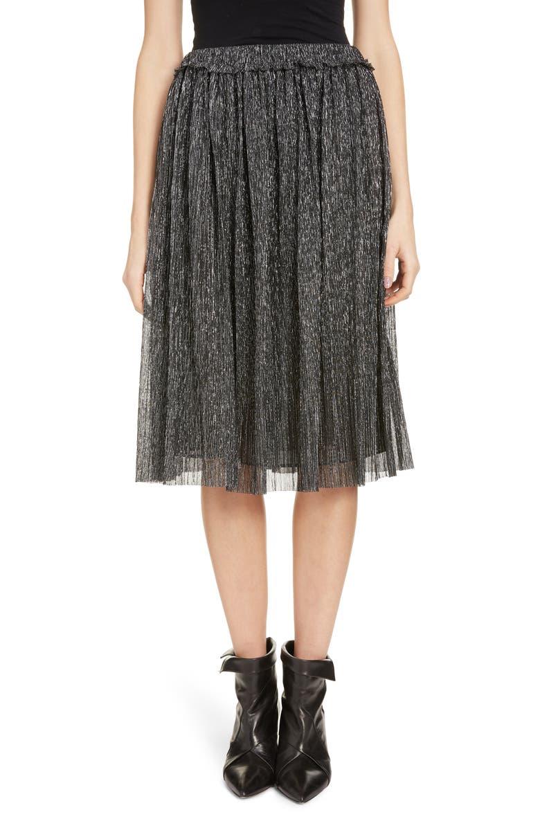 ISABEL MARANT ÉTOILE Beatrice Pleated Lamé A-Line Skirt, Main, color, GUN METAL