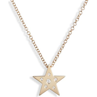 Ef Collection Mini Diamond & White Sapphire Star Pendant Necklace