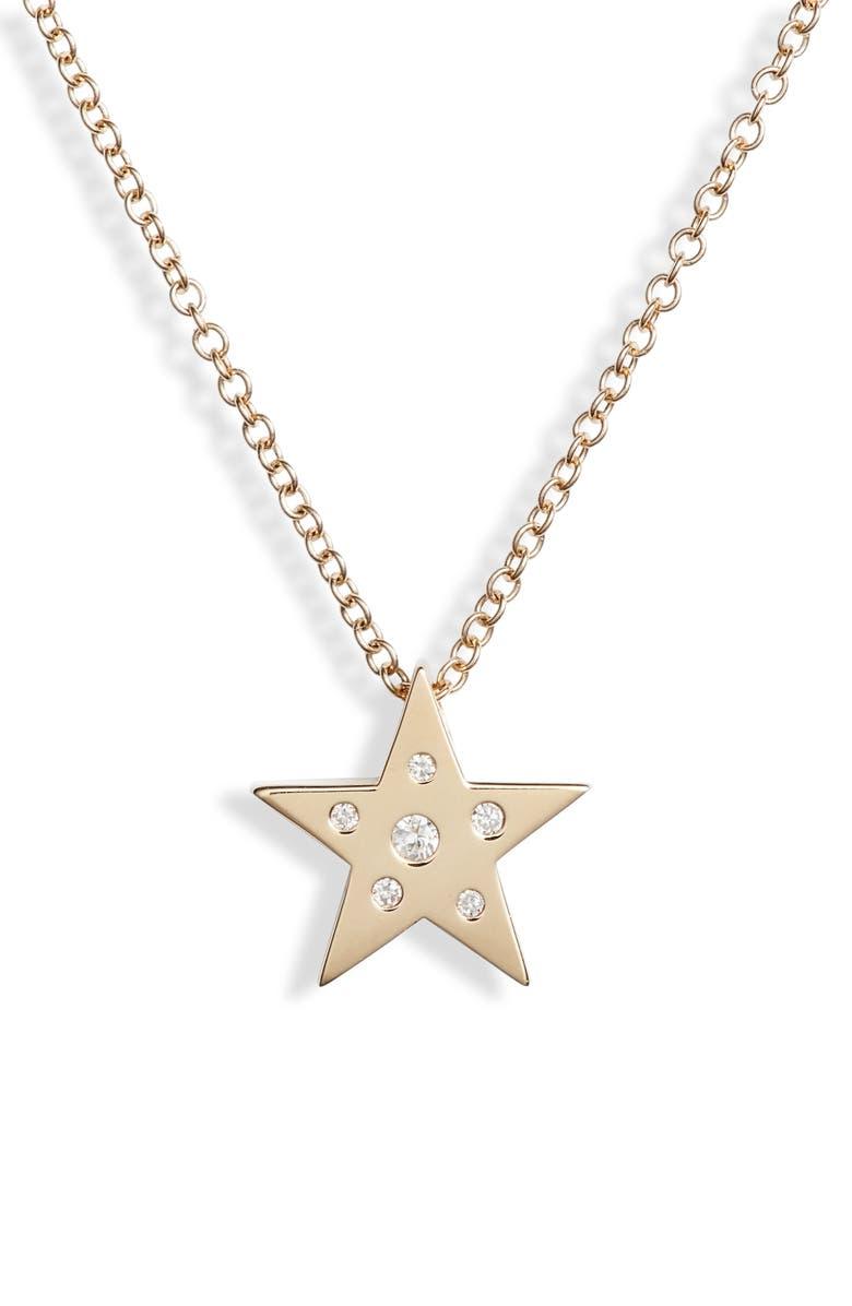 EF COLLECTION Mini Diamond & White Sapphire Star Pendant Necklace, Main, color, YELLOW GOLD/ DIAMOND