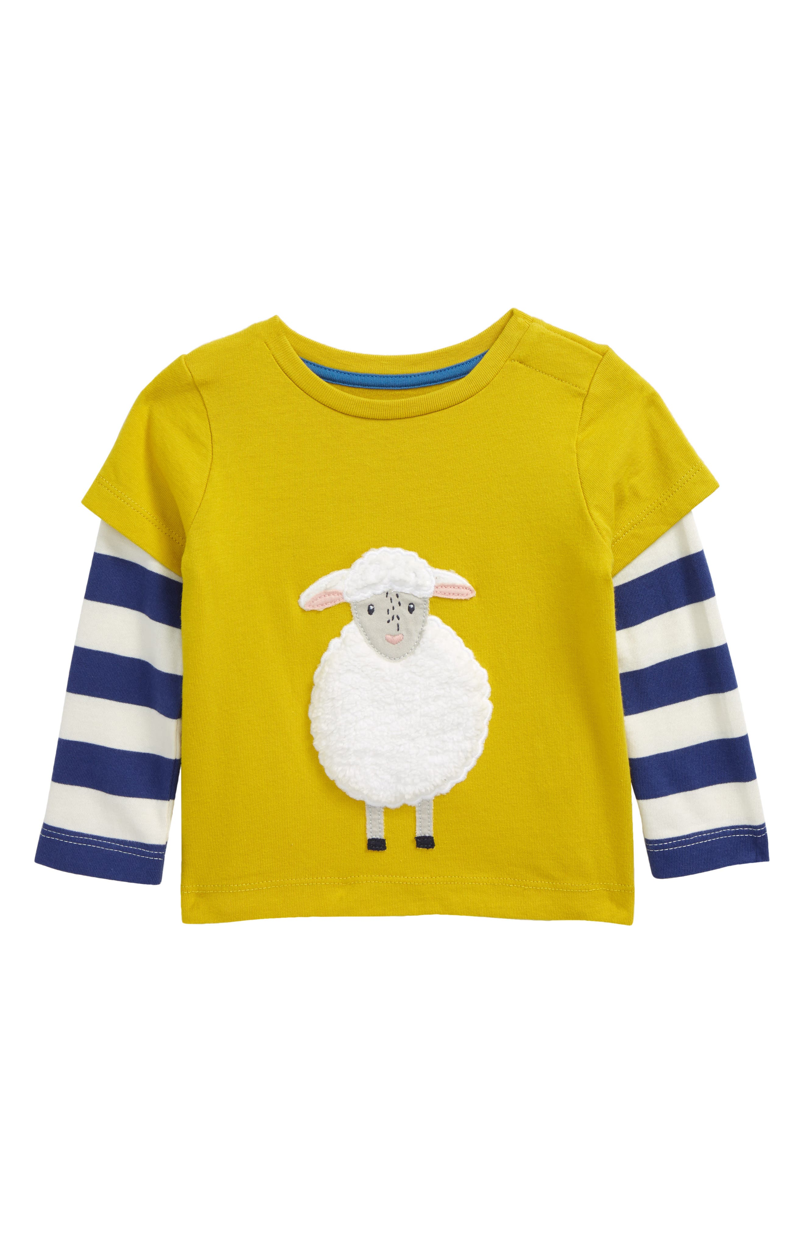 Your animal-loving little one will enjoy practicing cow or sheep sounds while wearing this comfy-cute T-shirt with layered long sleeves. Style Name: Mini Boden Farm Animal Layered Sleeve T-Shirt (Baby). Style Number: 6104869. Available in stores.
