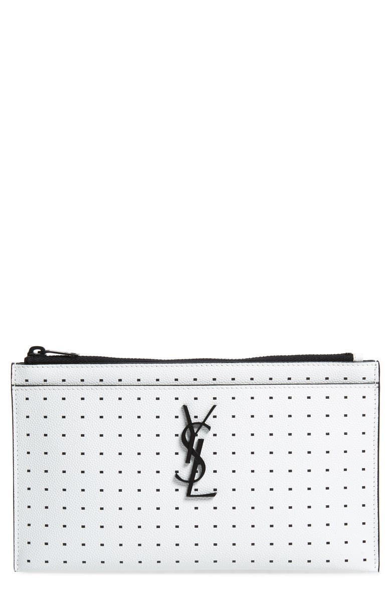 SAINT LAURENT Square Dot Leather Bill Pouch, Main, color, WHITE MATTE/ NOIR