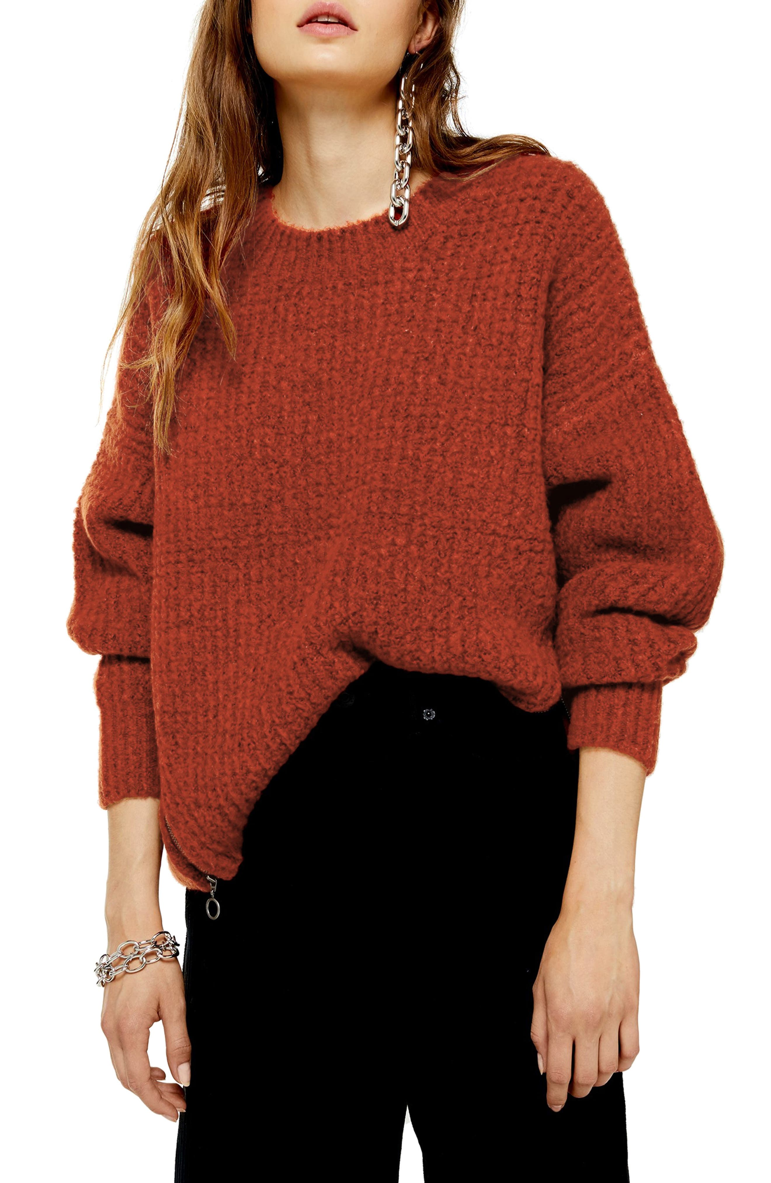 Topshop Zip Detail Waffle Knit Sweater