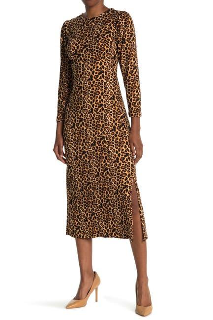 Image of Velvet Torch Leopard Print Side Split Midi Dress