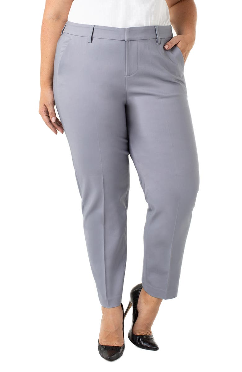 LIVERPOOL Kelsey Flat Front Trousers, Main, color, WINDY GRAY