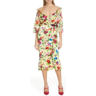 Saloni Olivia Floral Print Off The Shoulder Midi Dress